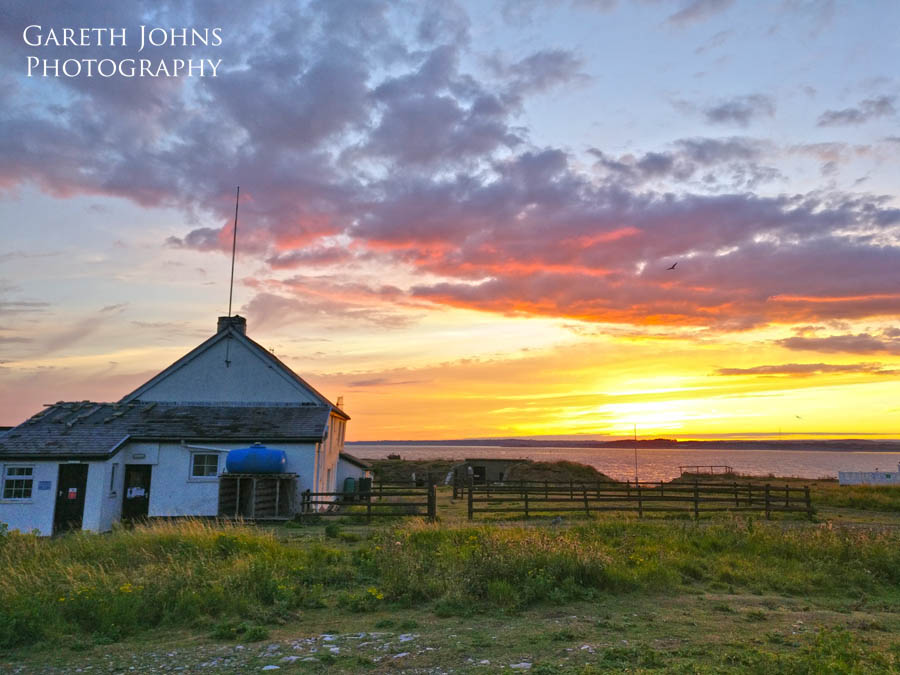 Sunset over the farm house on Flatholm Island