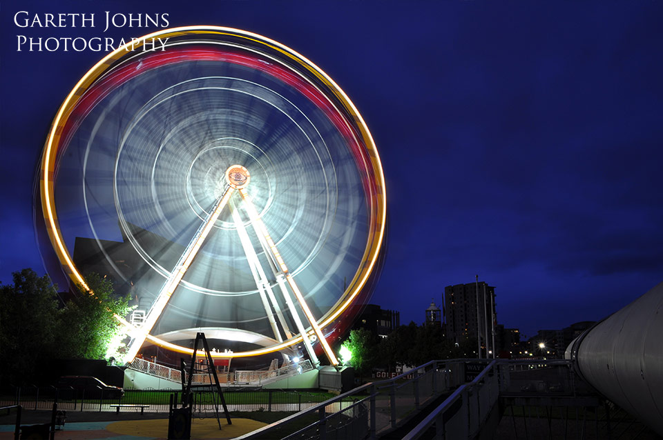 Big wheel at night in Cardiff Bay