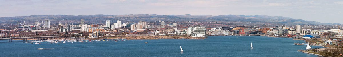 Cardiff Bay panoramic image taken from Penarth