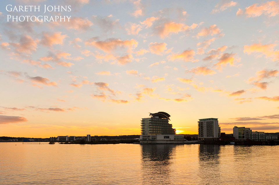 Cardiff Bay sunset over St Davids Hotel