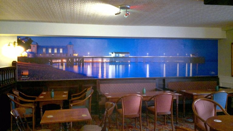 Cefn Mably Hotel Wall Display of Penarth Pier at Night (2)