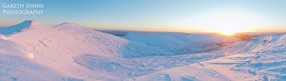 Corn Du, Pen y Fan and Cribyn winter sunrise
