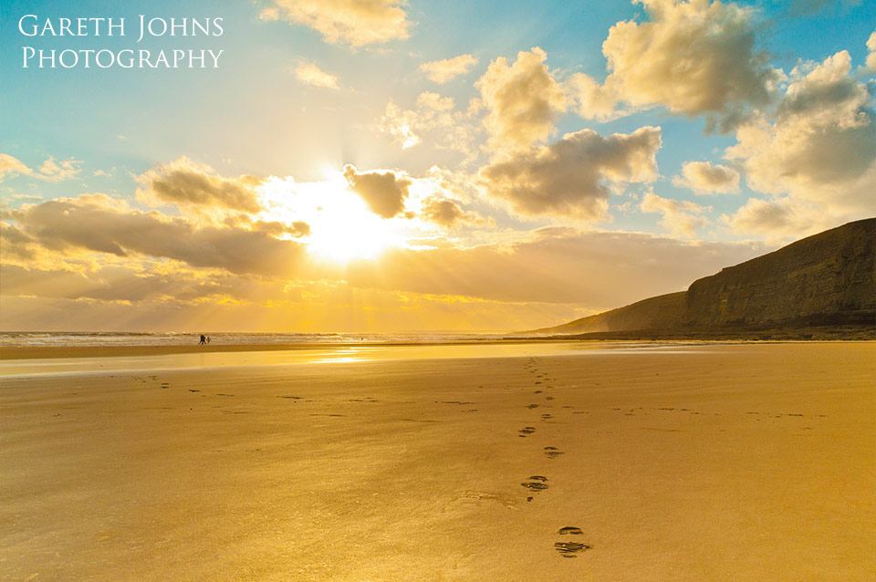 Golden footprints at Southerndown beach