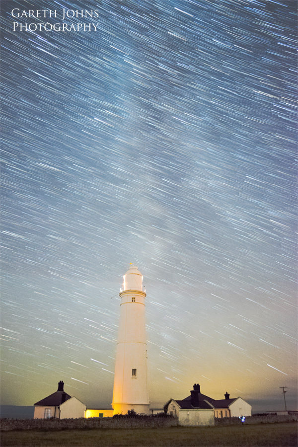 Star trail over Nash Point lighthouse