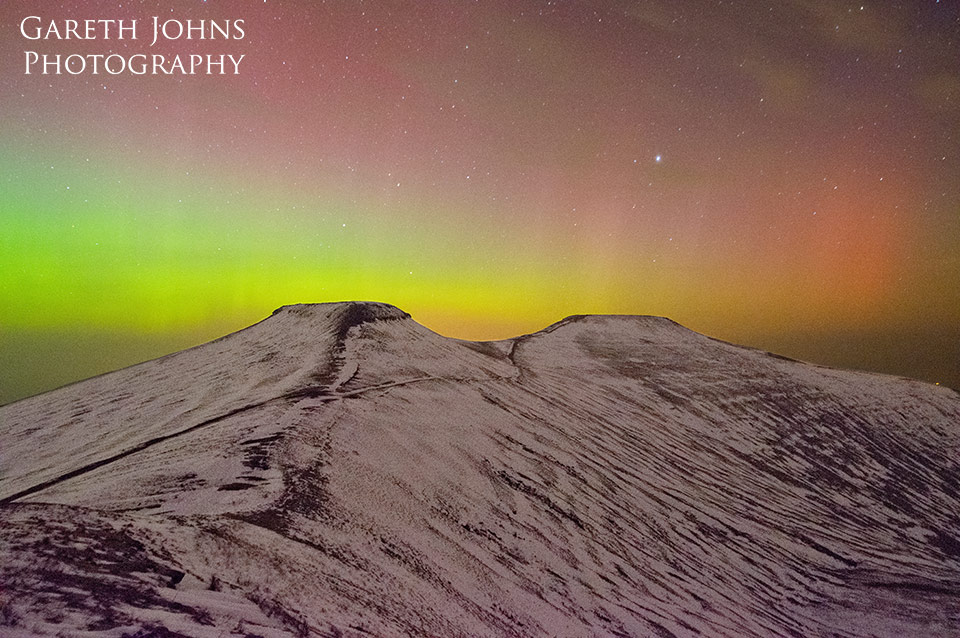 Pen y Fan and Corn Du with the aurora borealis